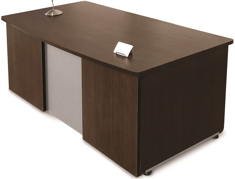 #19 - 36''D x 72''W Contemporary Executive Office Desk in Walnut Finish & Desk Return