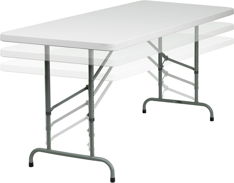 "#14 - 30"" X 72"" HEIGHT ADJUSTABLE PLASTIC FOLDING TABLE"