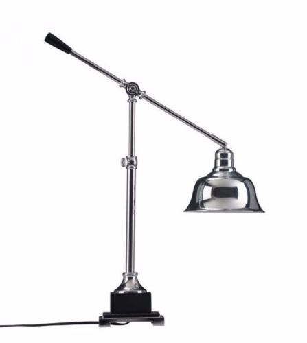 #145 - Modern Sleek Design Table Lamp in Chrome w/Adjustable Arm & Classic Pivot Shade