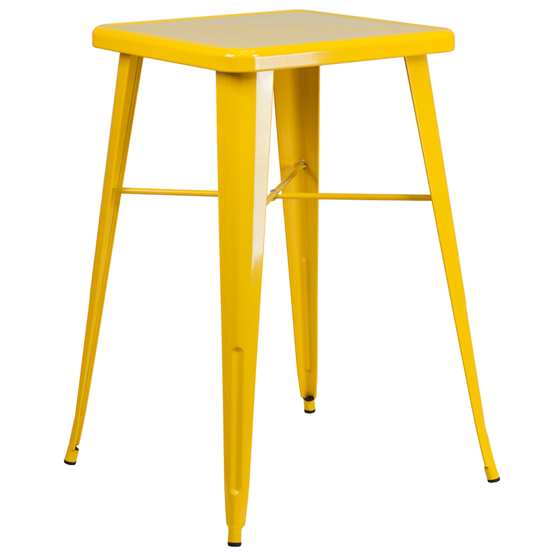 #89 - 23.75''Restaurant Table Set in Yellow Metal with Bar Height Table & 2 Backless Stools