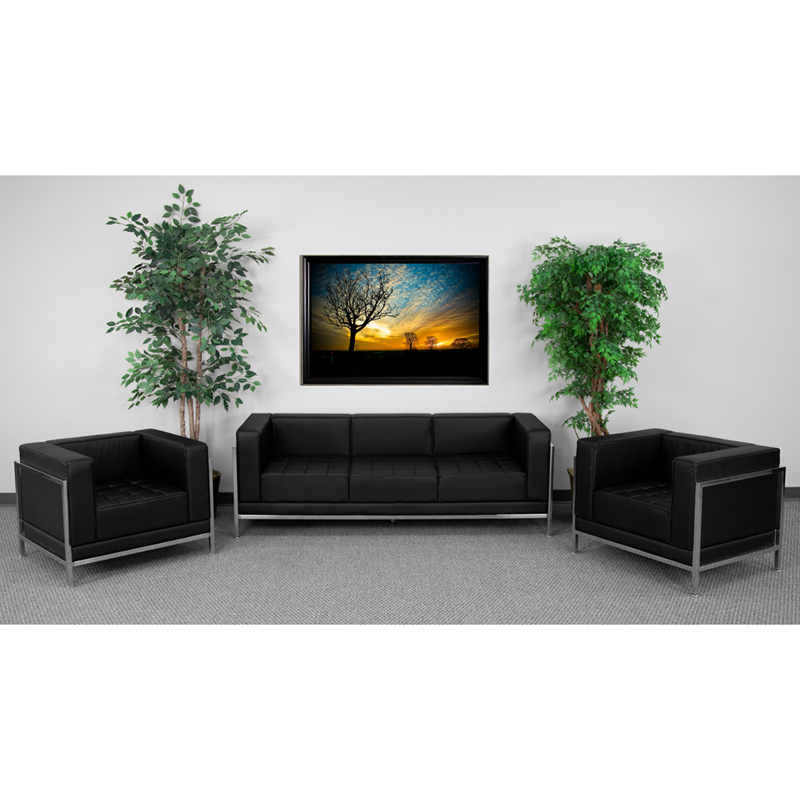 #48 - Imagination Series Black Leather Sofa & Chair Set