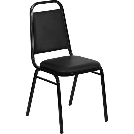 #14 - TRAPEZOIDAL BACK BANQUET CHAIRS WITH BLACK VINYL