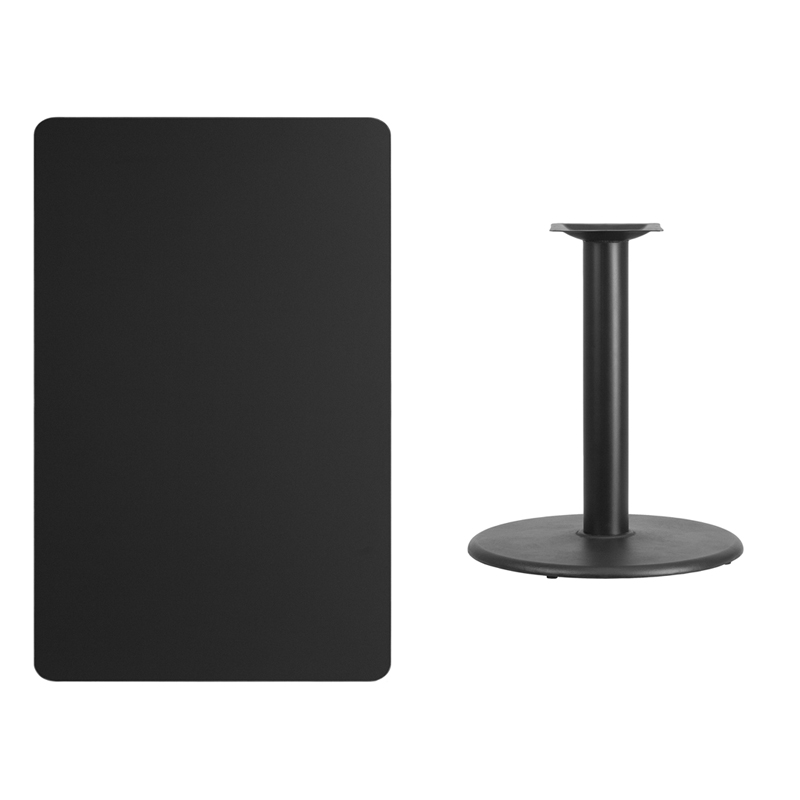 #216 - 30'' X 48'' RECTANGULAR BLACK LAMINATE TABLE TOP WITH 24'' ROUND TABLE HEIGHT BASE