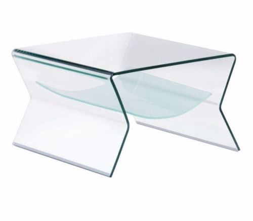 #148 - Stylish Modern Solid Arch Tempered Glass Side Table w/Shelve - Accent Table