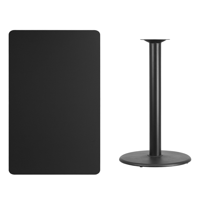 #217 - 30'' X 48'' RECTANGULAR BLACK LAMINATE TABLE TOP WITH 24'' ROUND BAR HEIGHT BASE