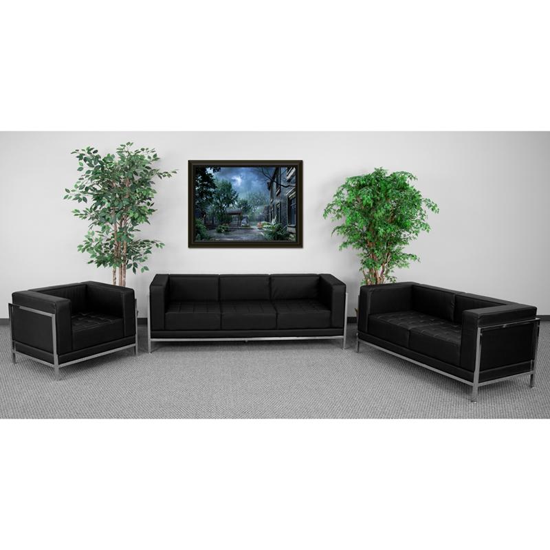 #49 - Imagination Series Black Leather 3 Piece Sofa Lounge Set