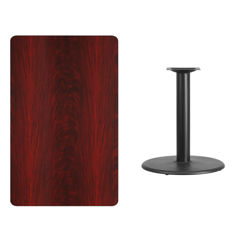 #218 - 30'' X 48'' RECTANGULAR MAHOGANY LAMINATE TABLE TOP WITH 24'' ROUND TABLE HEIGHT BASE