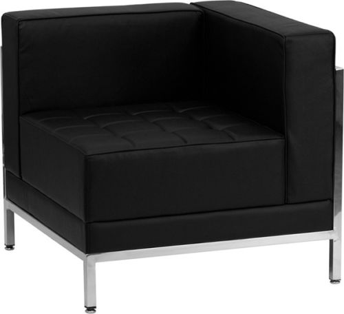 #129 - Imagination Series Black Leather Right Corner Chair