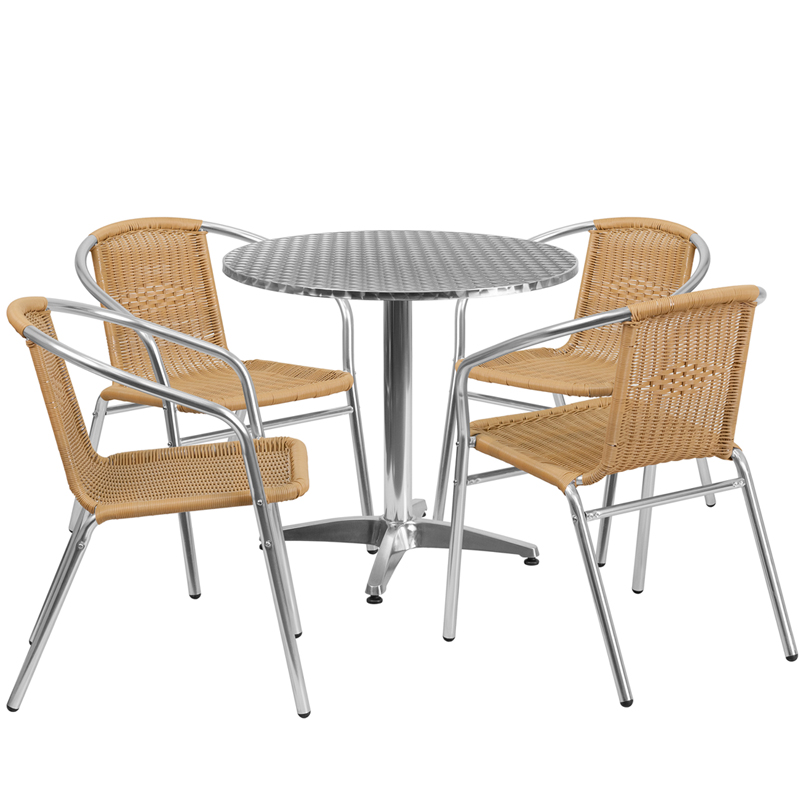 #30 - 31.5'' Round Aluminum Indoor-Outdoor Restaurant Table with 4 Beige Rattan Chairs
