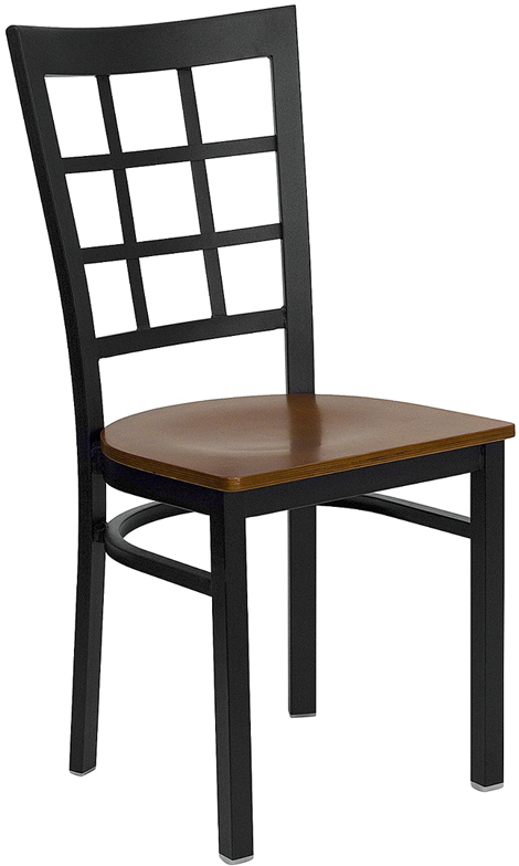 #42 - BLACK WINDOW BACK METAL RESTAURANT CHAIR - CHERRY WOOD SEAT