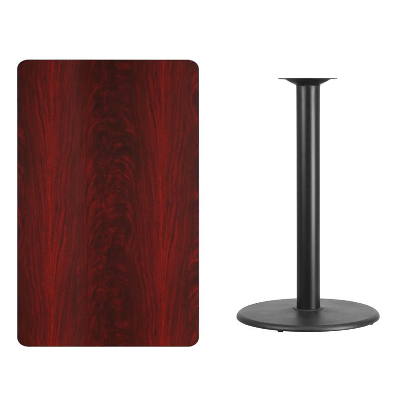 #219 - 30'' X 48'' RECTANGULAR MAHOGANY LAMINATE TABLE TOP WITH 24'' ROUND BAR HEIGHT BASE