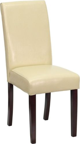 #152 - Luxurious Ivory Leather Upholstered Parsons Chair - Dining Chair