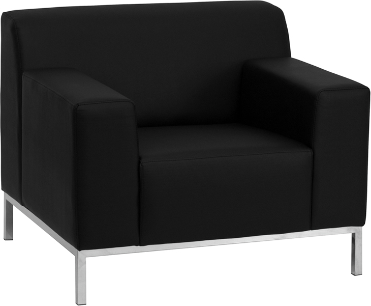 #83 - DEFINITY SERIES CONTEMPORARY BLACK LEATHER CHAIR WITH STAINLESS STEEL FRAME
