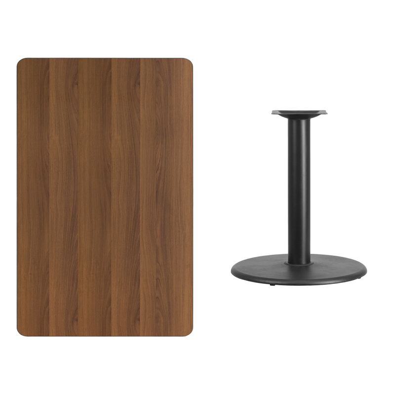 #222 - 30'' X 48'' RECTANGULAR WALNUT LAMINATE TABLE TOP WITH 24'' ROUND TABLE HEIGHT BASE