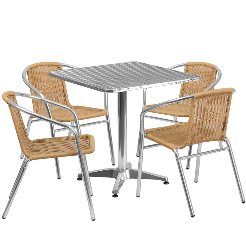 #34 - 27.5'' Square Aluminum Indoor-Outdoor Restaurant Table with 4 Beige Rattan Chairs