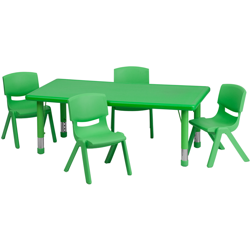 #3 - 24''W X 48''L ADJUSTABLE RECTANGULAR GREEN PLASTIC ACTIVITY TABLE SET WITH 4 SCHOOL STACK CHAIRS