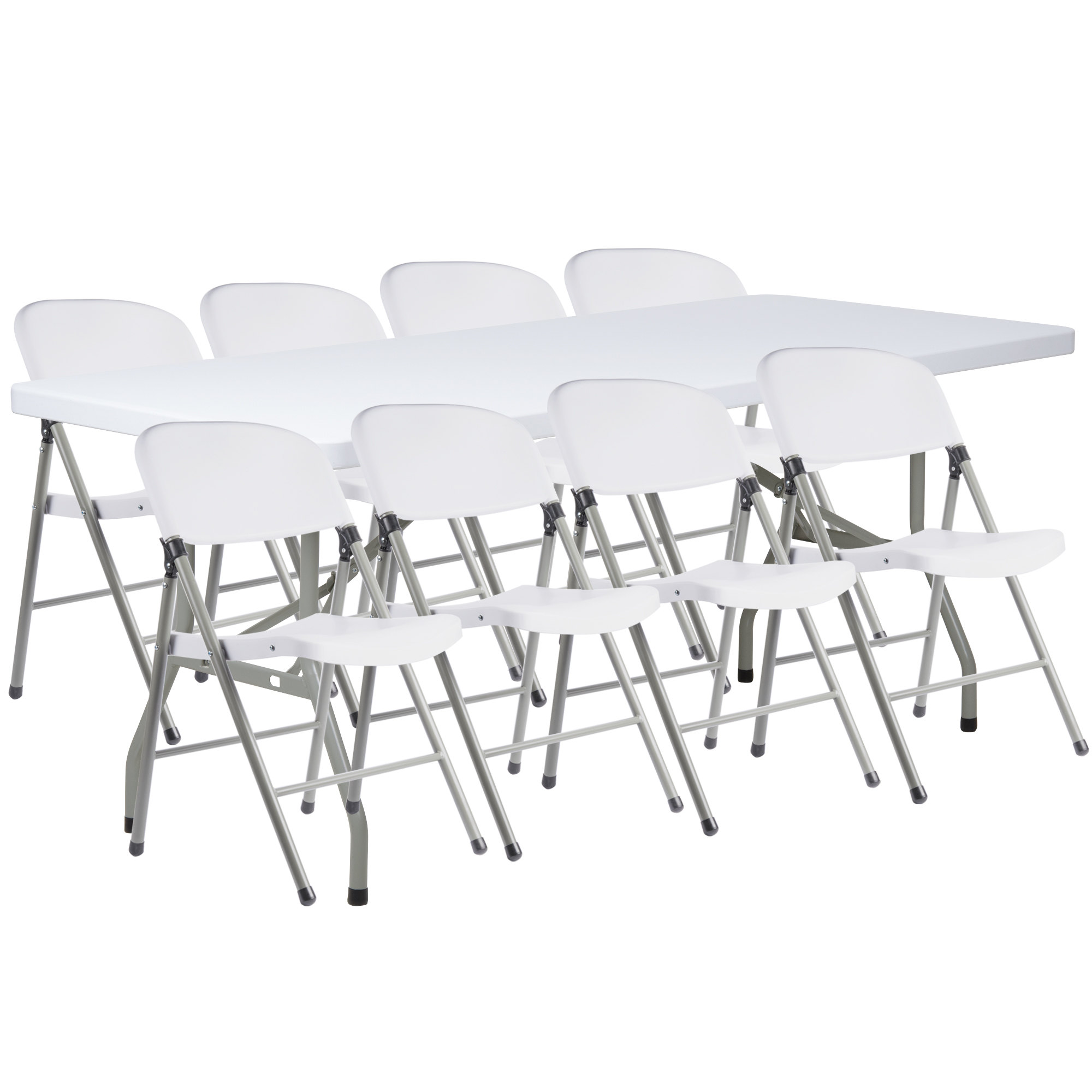 "#4 - 30"" x 72"" Granite White Heavy Duty Blow Molded Plastic Folding Table with 8 White Folding Chairs"