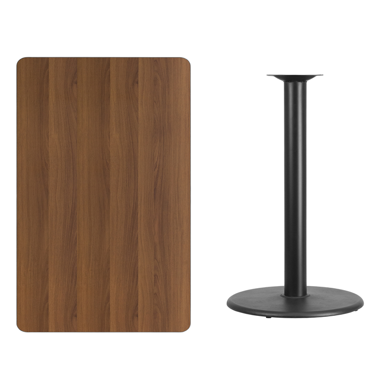 #223 - 30'' X 48'' RECTANGULAR WALNUT LAMINATE TABLE TOP WITH 24'' ROUND BAR HEIGHT BASE