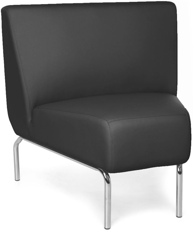 #164 - Armless 45 Degree Lounge Chair with Vinyl Seat and Chrome Feet in Black