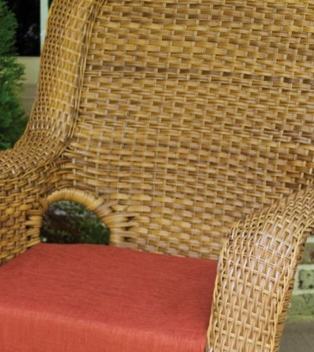 #83 - Outdoor Patio Garden Furniture Mojave Resin Wicker Rocking Chair in Rave Brick