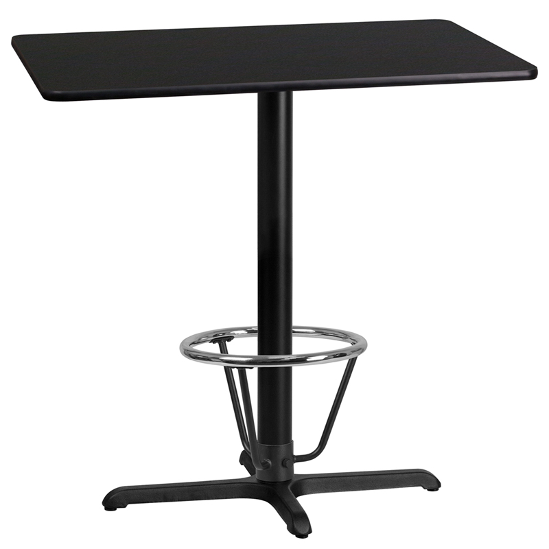 #41 - 24'' x 42'' Rectangular Black Laminate Table Top with 22'' x 30'' Bar Height Table Base and Foot Ring