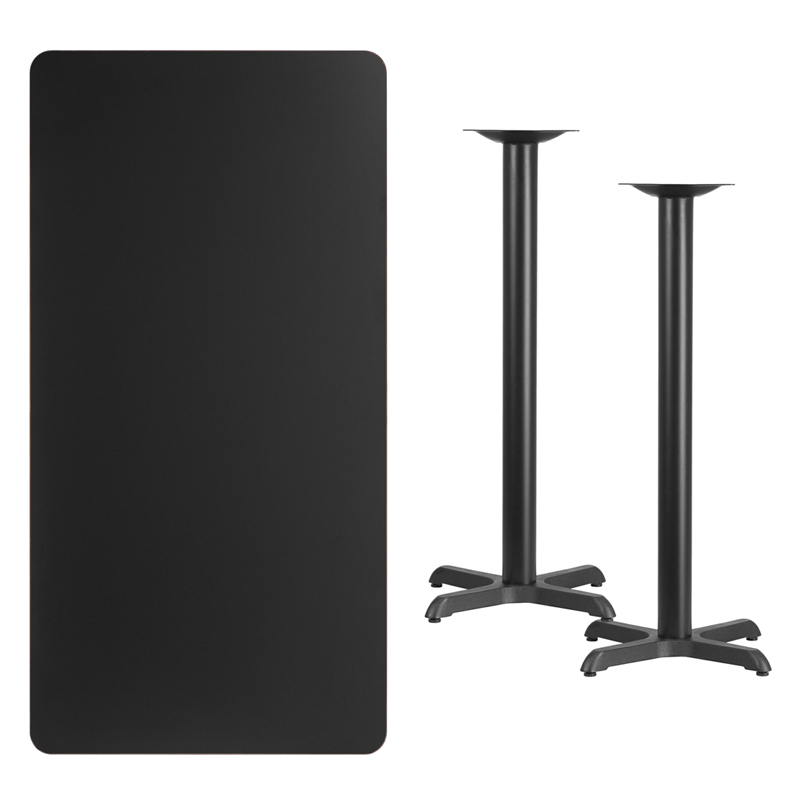 #225 - 30'' X 60'' RECTANGULAR BLACK LAMINATE TABLE TOP WITH 22'' X 22'' BAR HEIGHT BASES