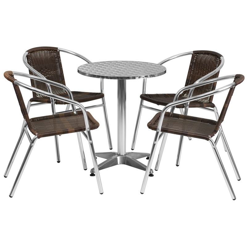 #14 - 23.5'' Round Aluminum Indoor-Outdoor Restaurant Table with 4 Dark Brown Rattan Chairs