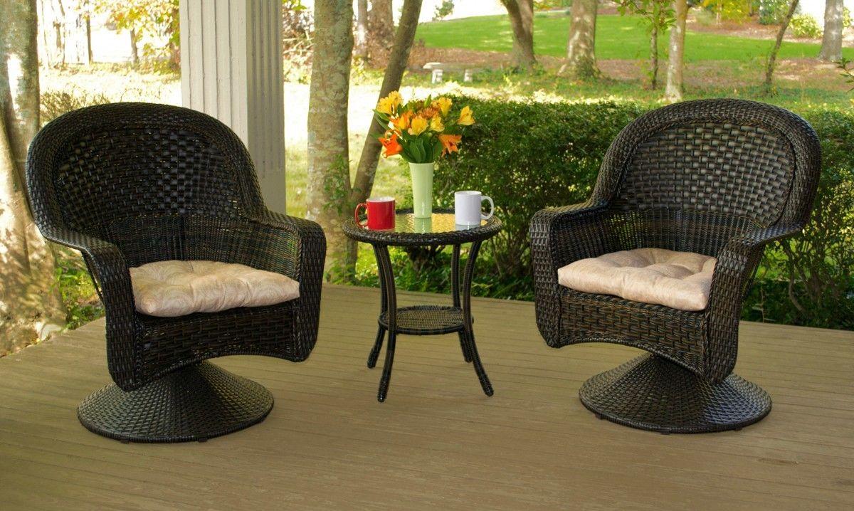 #1 - Outdoor Patio Garden After Dinner Dark Roast Resin Wicker Bistro Set