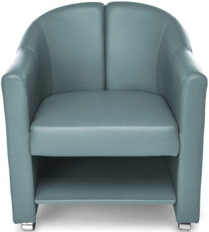 #198 - Mobile Club Lounge Chair in Aqua Vinyl with Lower Bottom Storage