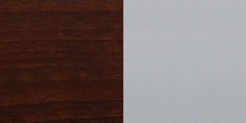 #21 - SILVER SLAT BACK METAL RESTAURANT CHAIR - WALNUT WOOD SEAT