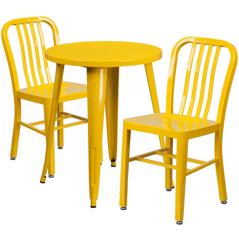 #15 - 24'' Round Yellow Metal Indoor-Outdoor Restaurant Table Set with 2 Vertical Slat Back Chairs