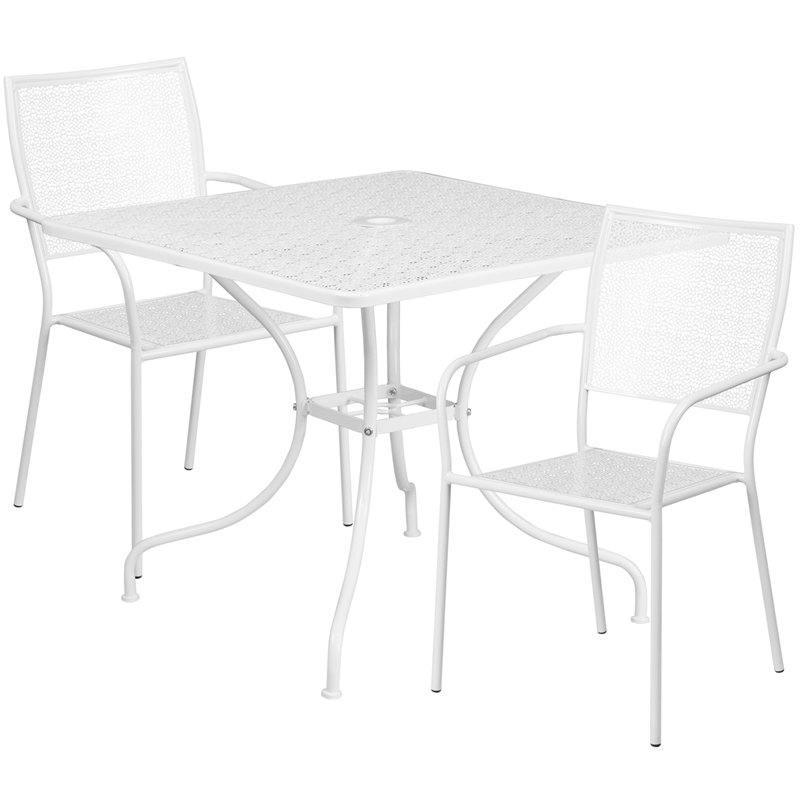#171 - 35.25'' Square White Indoor-Outdoor Patio Restaurant Table Set with 2 Square Back Chairs
