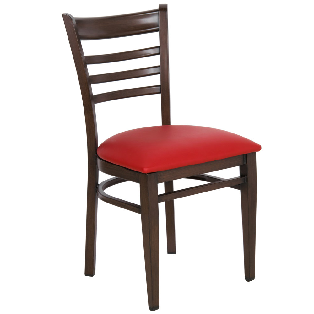 #145 - Ladder Back Design Metal Restaurant Chair With Walnut Wood Grain Finish And Red Vinyl Seat
