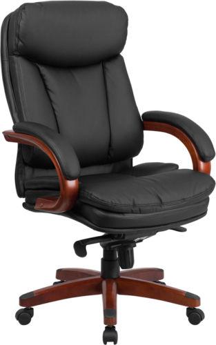 #45 - High Back Black Leather Executive Swivel Office Chair w/ Synchro-Tilt Mechanism