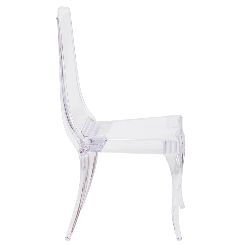 #14 - Crystal Clear Stacking Chair with Full Back Vertical Line Design