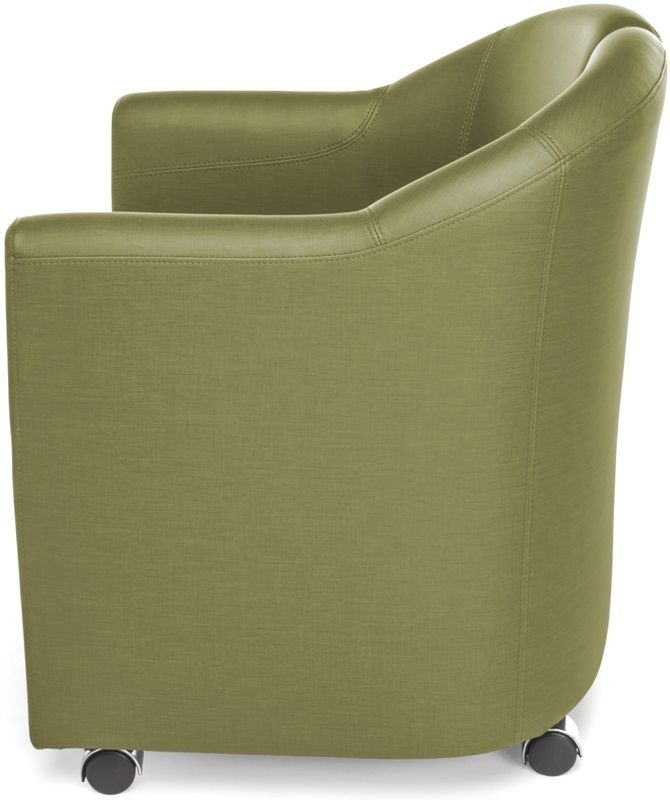 #199 - Mobile Club Lounge Chair in Leaf Vinyl with Lower Bottom Storage