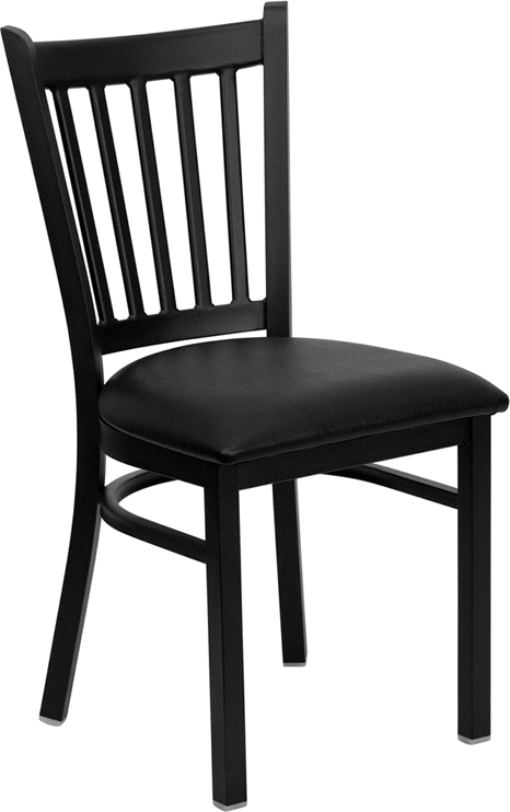 #46 - BLACK VERTICAL BACK METAL RESTAURANT CHAIR - BLACK VINYL SEAT