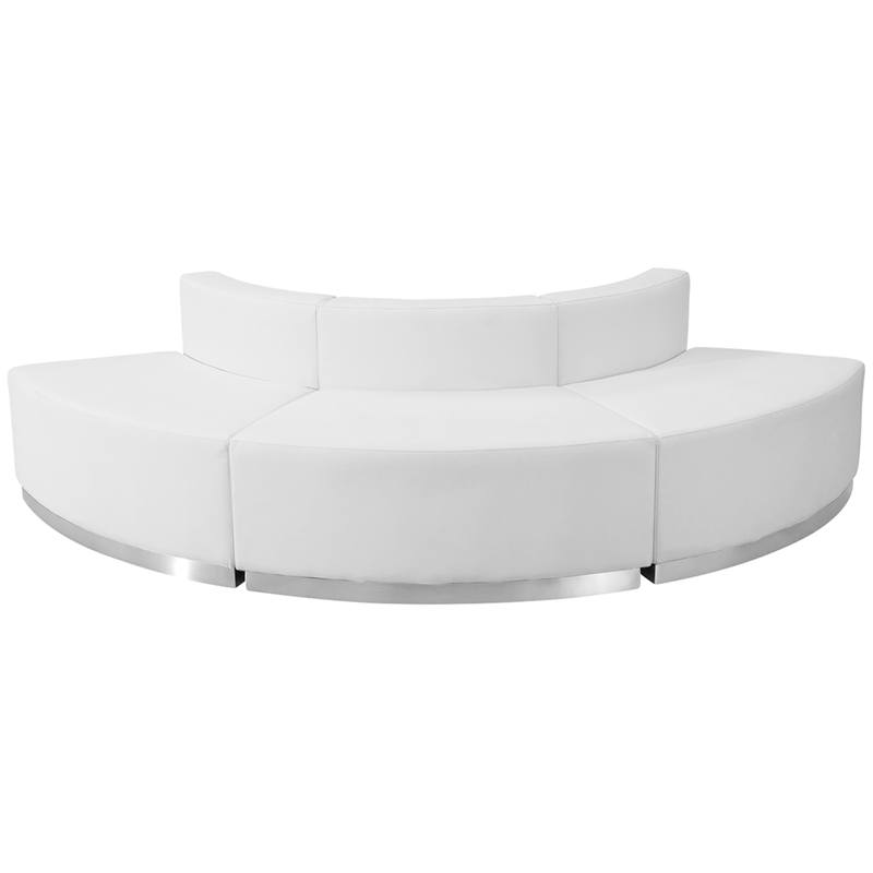 #70 -  LOUNGE SERIES WHITE LEATHER RECEPTION CONFIGURATION, 3 PIECES