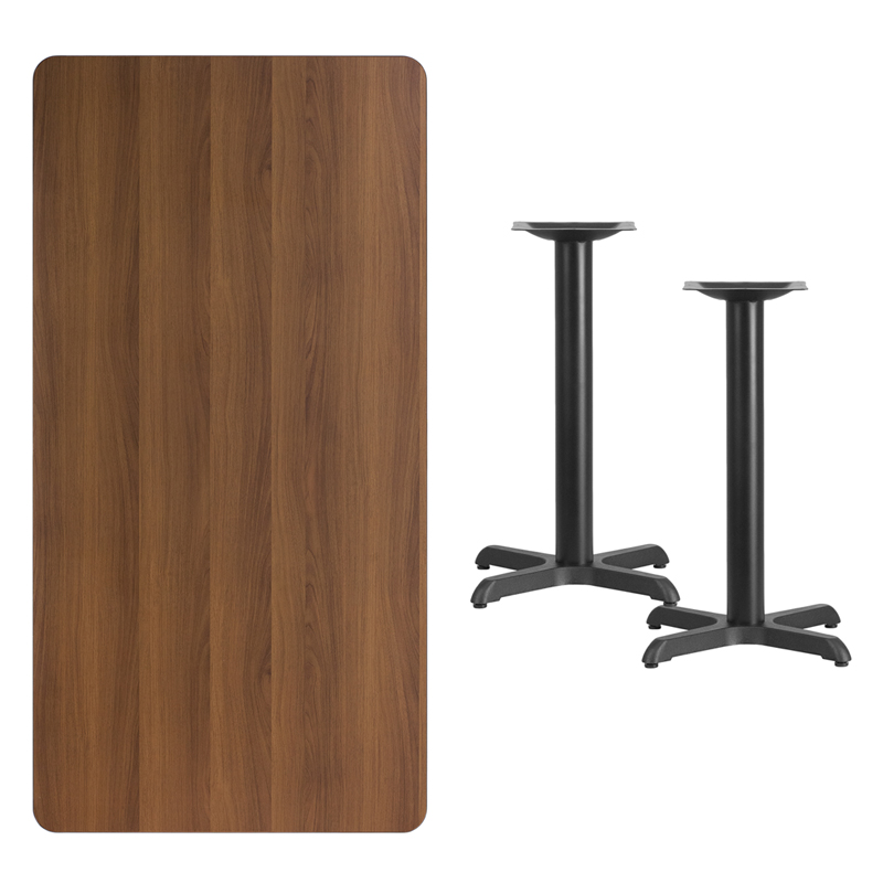 #230 - 30'' X 60'' RECTANGULAR WALNUT LAMINATE TABLE TOP WITH 22'' X 22'' TABLE HEIGHT BASES