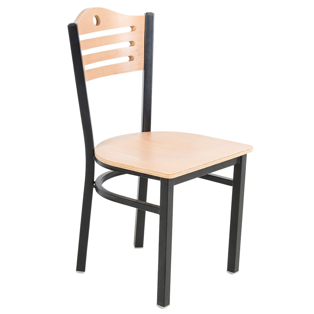 #178 -Black Slat Back Metal Restaurant Chair with Natural Wood Seat And Back