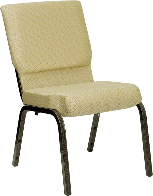#27 - 18.5''W BEIGE PATTERNED FABRIC STACKING CHURCH CHAIR WITH 4.25'' THICK SEAT - GOLD VEIN FRAME