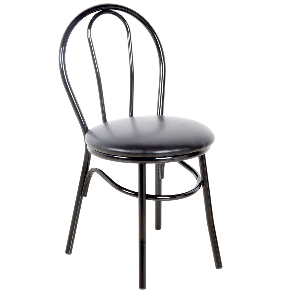 """#160 - Hairpin Back Design Restaurant Chair with 1 1/4"""" Black Vinyl Padded Seat"""