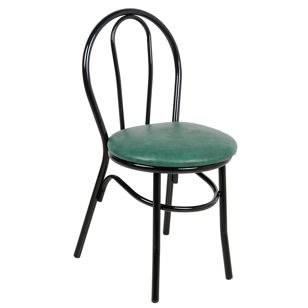 """#161 - Hairpin Back Design Restaurant Chair with 1 1/4"""" Green Vinyl Padded Seat"""