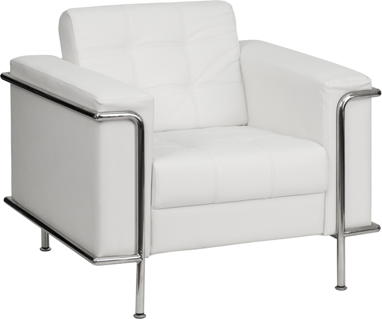 #84 - LESLEY SERIES CONTEMPORARY WHITE LEATHER CHAIR WITH ENCASING FRAME