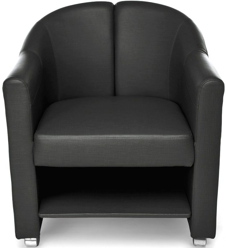 #201 - Mobile Club Lounge Chair in Black Vinyl with Lower Bottom Storage