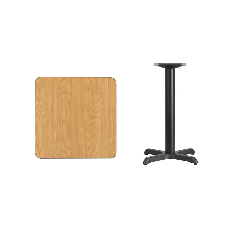 #68 - 24'' Square Natural Laminate Table Top with 22'' x 22'' Table Height Base