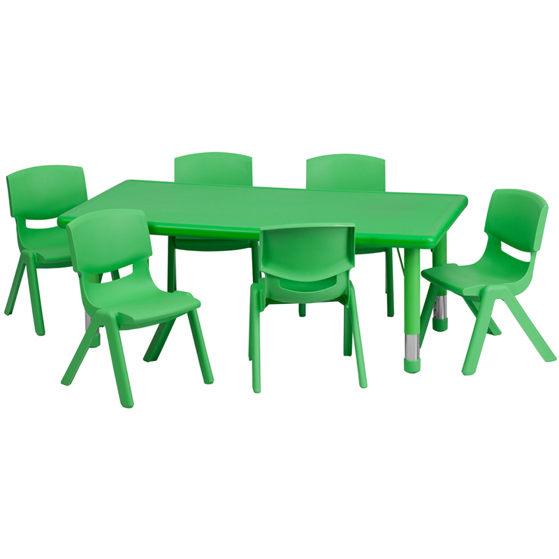 #4 - 24''W X 48''L ADJUSTABLE RECTANGULAR GREEN PLASTIC ACTIVITY TABLE SET WITH 6 SCHOOL STACK CHAIRS