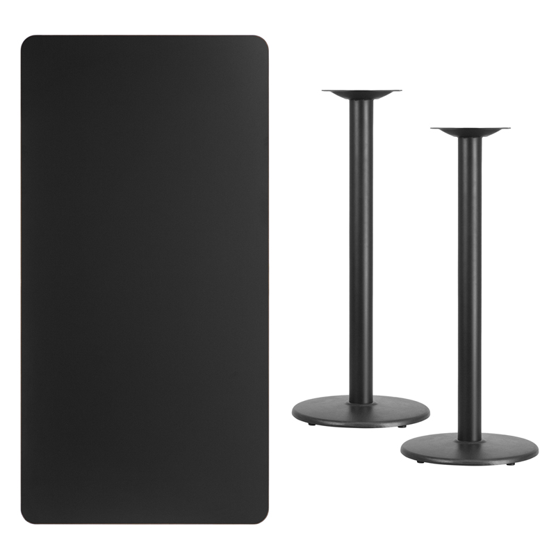 #233 - 30'' X 60'' RECTANGULAR BLACK LAMINATE TABLE TOP WITH 18'' ROUND BAR HEIGHT BASES