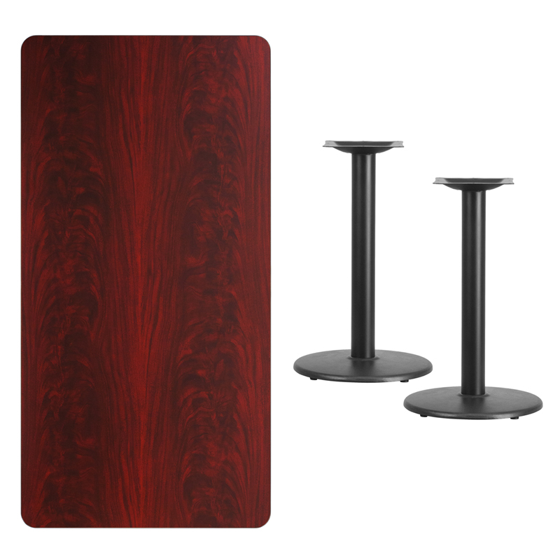 #234 - 30'' X 60'' RECTANGULAR MAHOGANY LAMINATE TABLE TOP WITH 18'' ROUND TABLE HEIGHT BASES