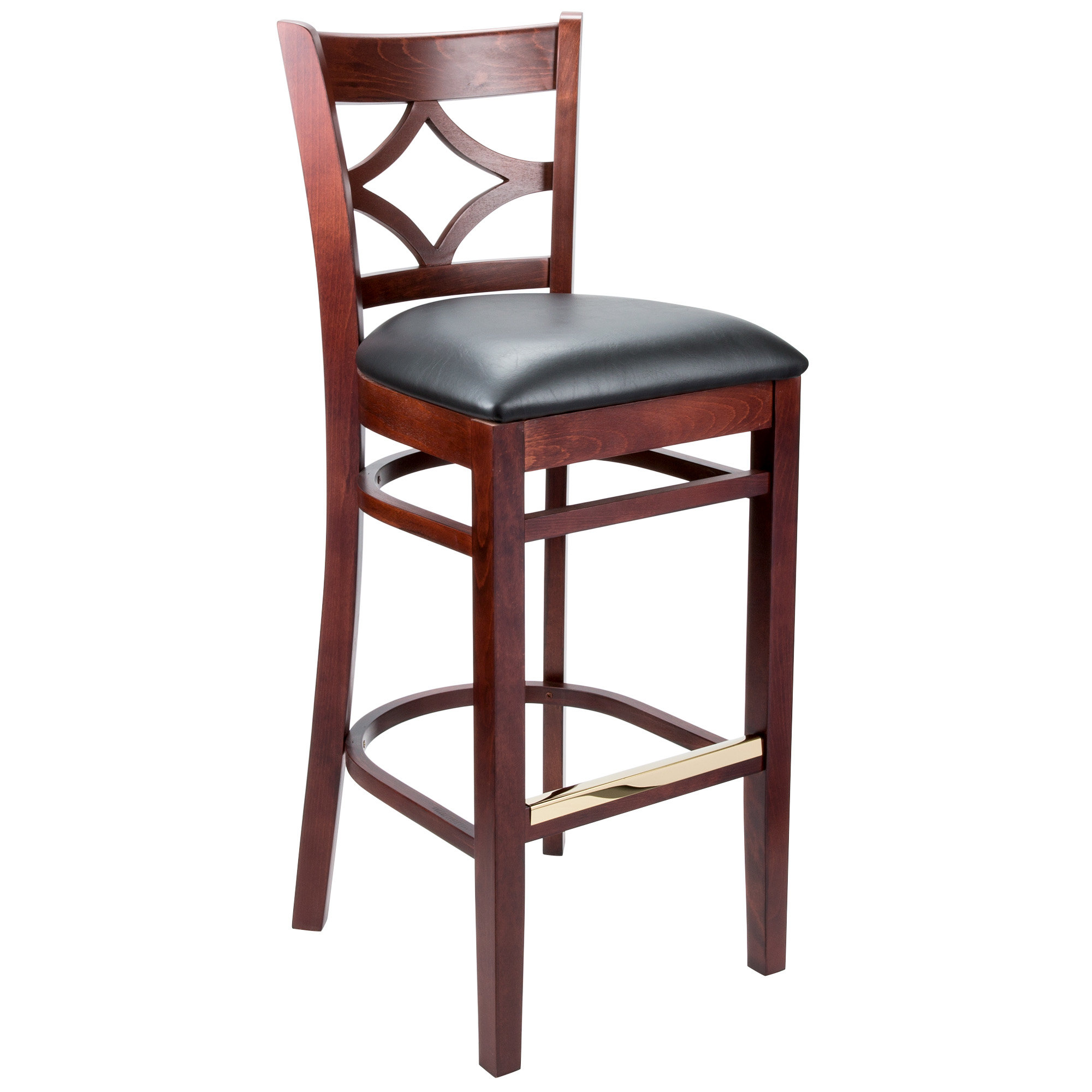 #68 - Mahogany Wood Finished Diamond Back Restaurant Barstool with Black Vinyl Seat